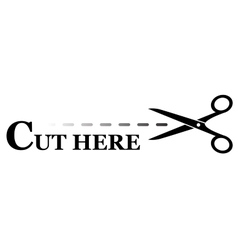 sign with black scissors cutting lines vector image