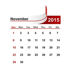 simple calendar 2015 year november month vector image