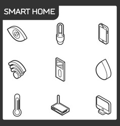 Smart home outline isometric icons vector