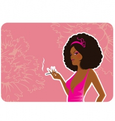 smoke women vector image