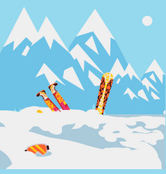 Snowboarder fell in snow mountain avalanche vector