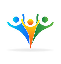 Strong teamwork people icon vector