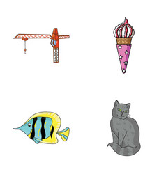 tail animal and other web icon in cartoon style vector image