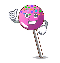 Thumbs up lollipop with sprinkles character vector