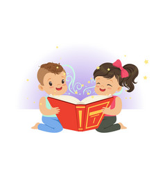 Two little children reading magic book with vector