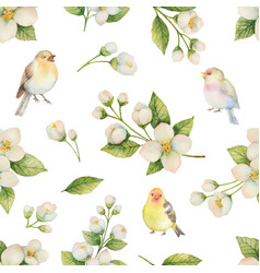 Watercolor seamless pattern with bird and vector