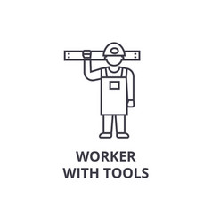 worker with tools line icon sign vector image