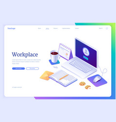 workspace isometric landing page work from home vector image