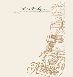 writer workspace with sketches and place for text vector image