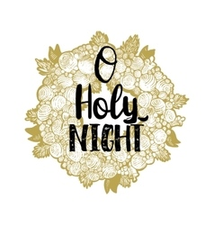 Xmas golden wreath and Holy Night vector