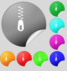 Zipper Icon sign Set of eight multi colored round vector image