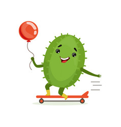 cute cactus skateboarder funny plant character vector image