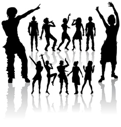 dancing and singing people vector image