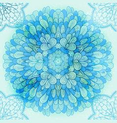 Hand drawn ethnic circular blue ornament vector