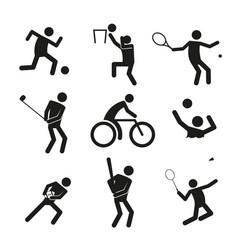 sport figure symbol graphic set vector image