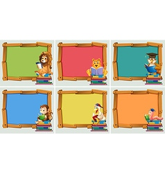 Wooden frames with animals reading books vector image vector image