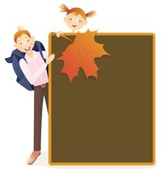 Boy girl and school board vector image vector image