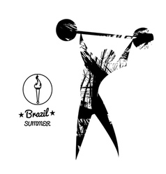 Brazil summer sport card with an abstract weightli vector image