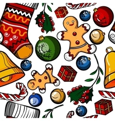 Christmas colored toy pattern vector image vector image