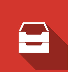 document inbox flat icon with long shadow vector image vector image