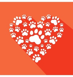Flat heart with pet paws silhouette vector image vector image