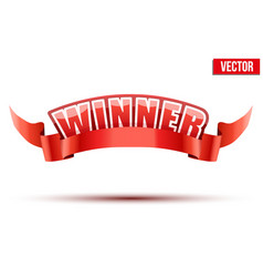 Red label with white letters in the word winner vector