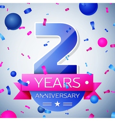 Two years anniversary celebration on grey vector image