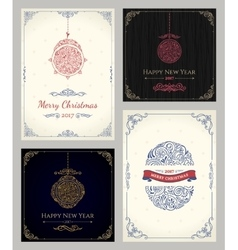 Vertical Christmas holiday cards set Winter vector image