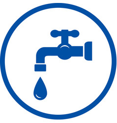 blue icon with faucet and drop vector image