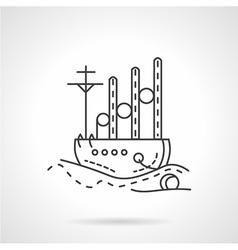 Cargo ship icon line style vector image vector image