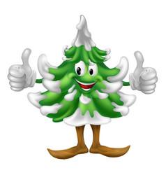 christmas tree cartoon man vector image vector image