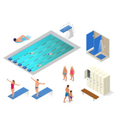 isometric set of swimming pool swimmers vector image vector image