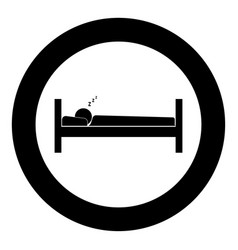 man sleeping icon black color in circle vector image vector image