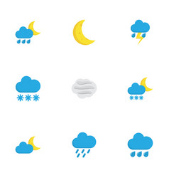 Nature flat icons set collection of lightning vector