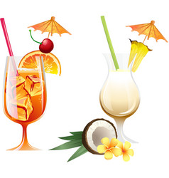 Set of beach tropical cocktails bahama mama and vector image vector image