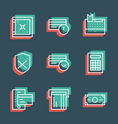 business finance line icon set anaglyph 3d vector image vector image