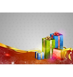 christmas background two color gifts red vector image vector image