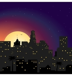 City at night with yellow moon vector image