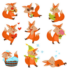 cute cartoon fox character set funny animals in vector image