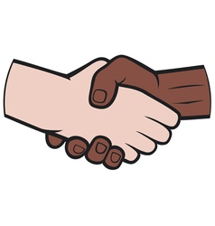 handshake between black and white man vector image vector image