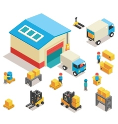 Isometric factory distribution warehouse building vector image vector image