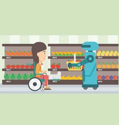 robotic helper working in supermarket vector image vector image