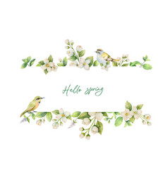 watercolor banner with bird and flowers vector image