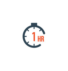 1 hour round timer or countdown timer icon vector