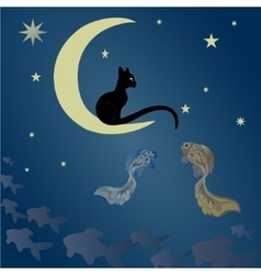 A cat sits on the moon and catches fish vector image vector image