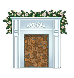 a stack of wood in the false fireplace without vector image