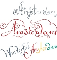 Amsterdam hand written inscription vector image