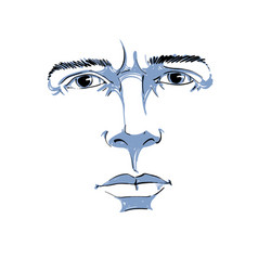 Art drawing portrait of man blaming somebody this vector