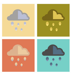 Assembly flat icons nature cloud hail vector