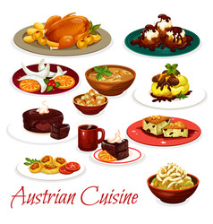 Austrian cuisine meat dishes and chocolate cakes vector